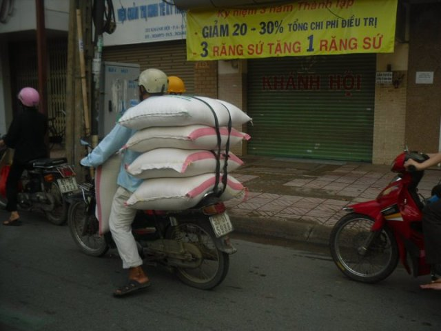 5 sacks of rice on a bike!