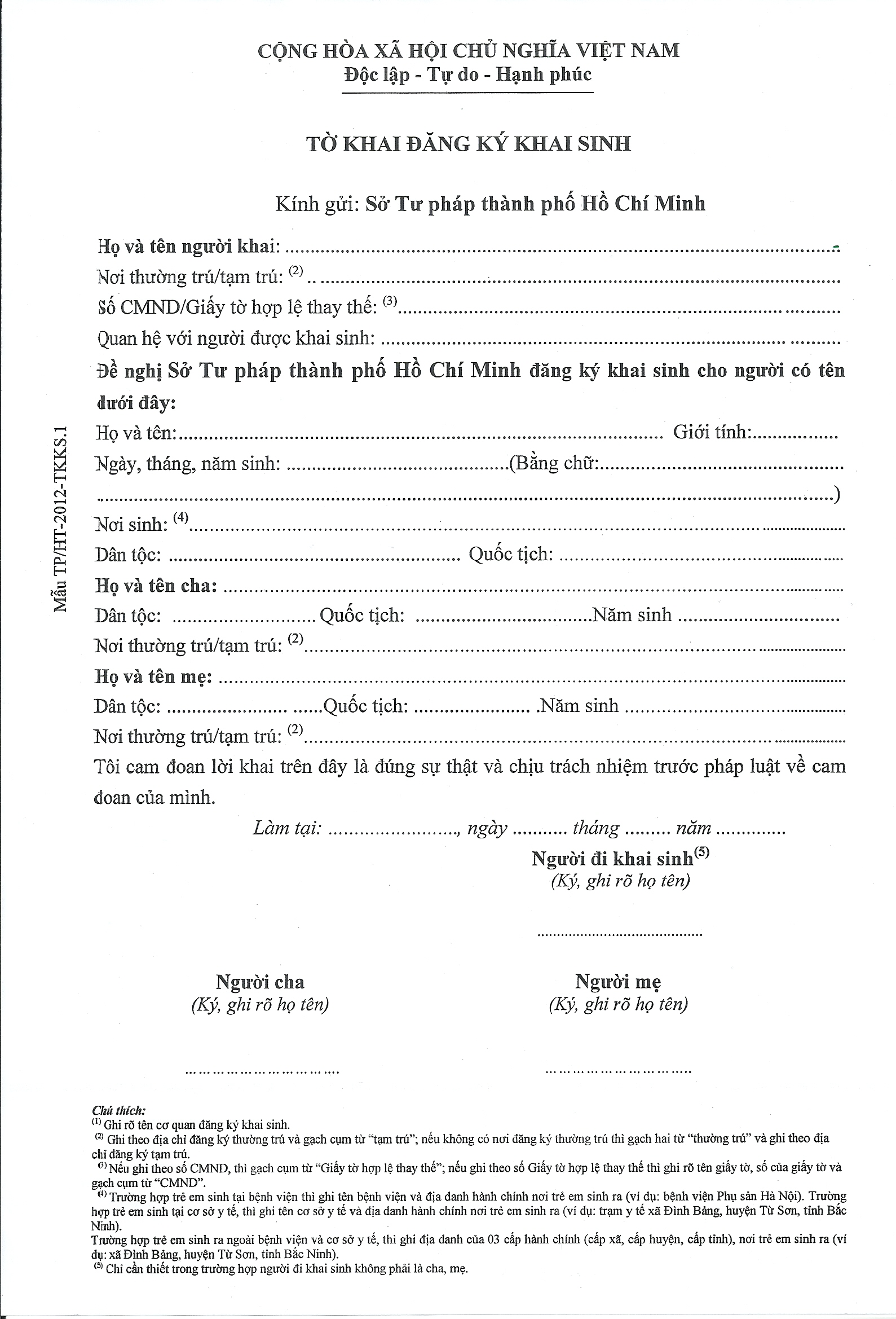 How to get a birth certificate in vietnam a summary hello saigon child birth registration form from the moj yelopaper Choice Image